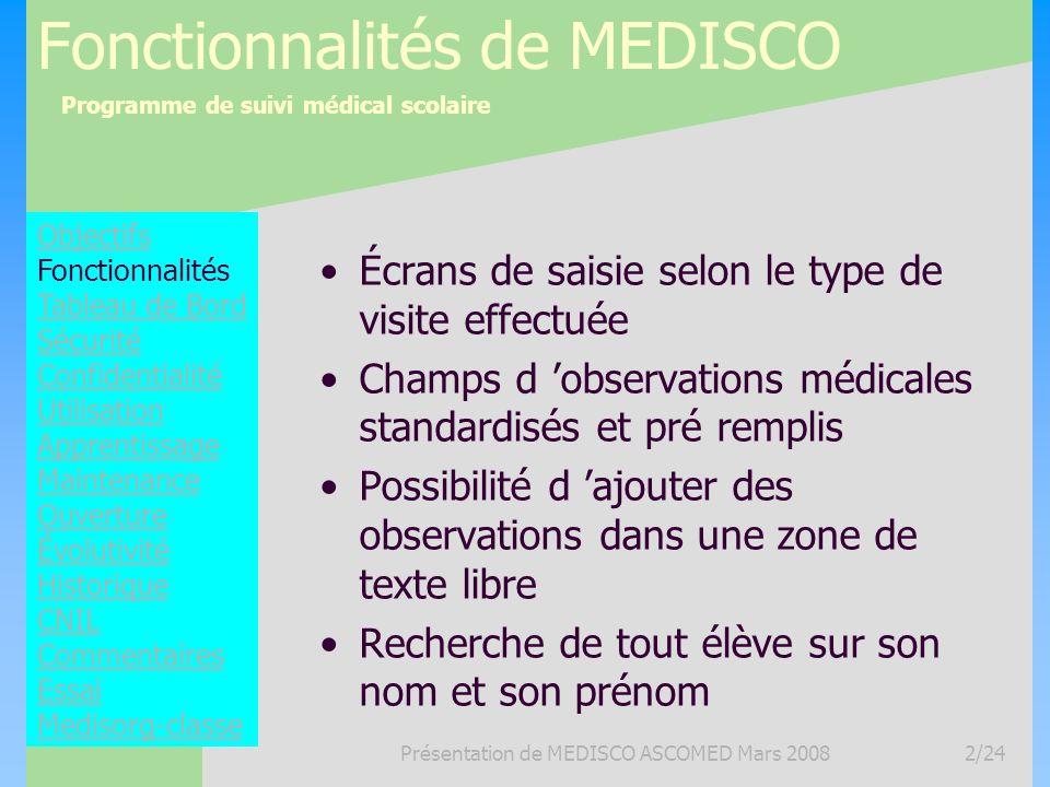 Programme de suivi médical scolaire Présentation de MEDISCO ASCOMED Mars 20082/24 Fonctionnalités de MEDISCO Écrans de saisie selon le type de visite