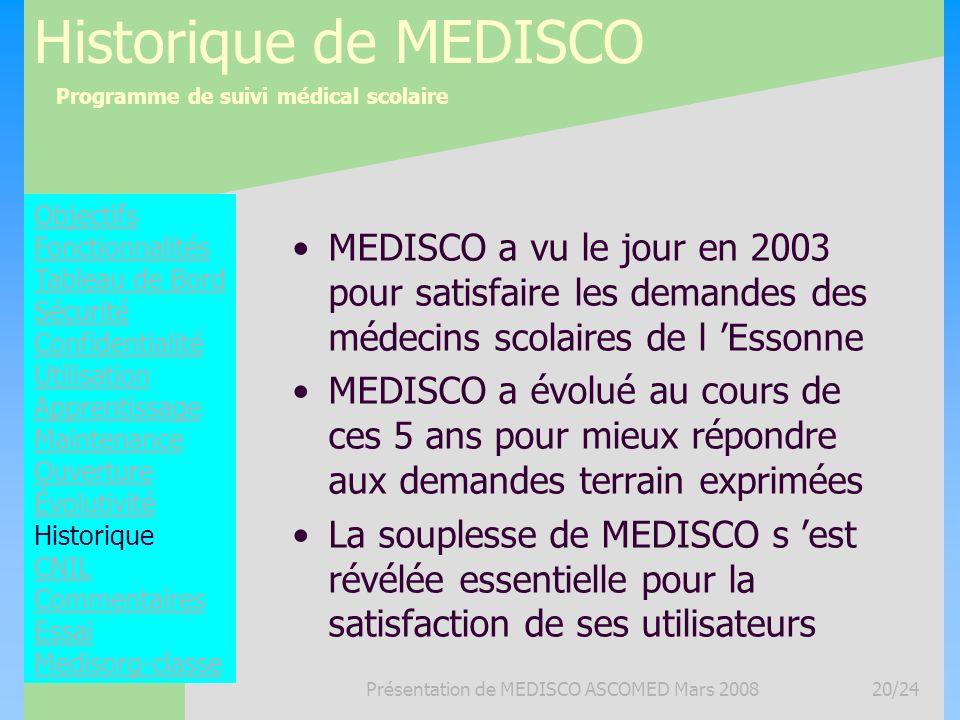 Programme de suivi médical scolaire Présentation de MEDISCO ASCOMED Mars 200820/24 Historique de MEDISCO MEDISCO a vu le jour en 2003 pour satisfaire
