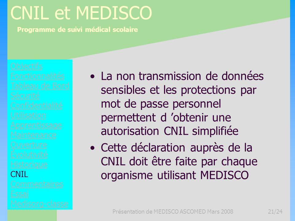 Programme de suivi médical scolaire Présentation de MEDISCO ASCOMED Mars 200821/24 CNIL et MEDISCO La non transmission de données sensibles et les pro