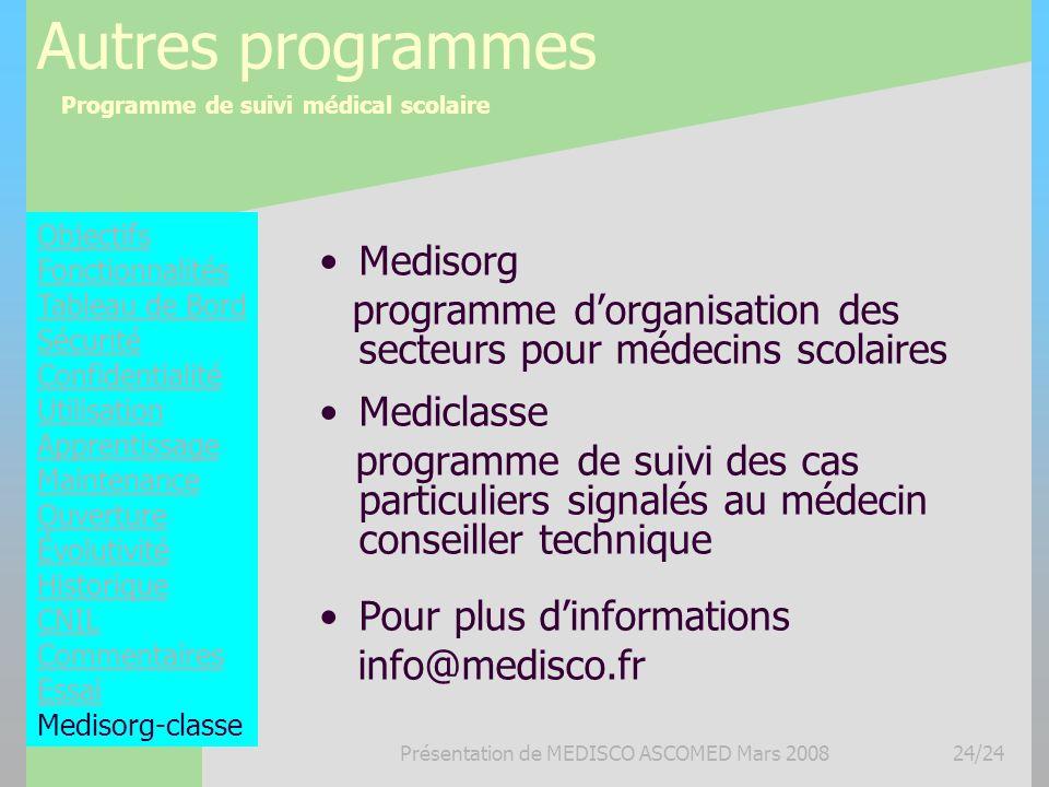 Programme de suivi médical scolaire Présentation de MEDISCO ASCOMED Mars 200824/24 Autres programmes Medisorg programme dorganisation des secteurs pou