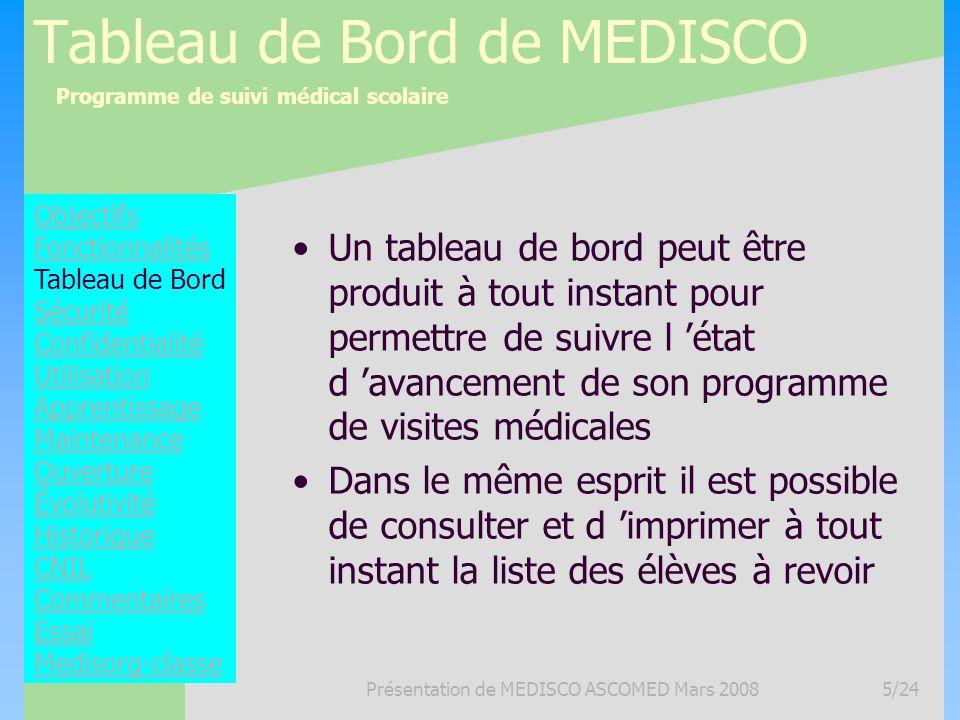 Programme de suivi médical scolaire Présentation de MEDISCO ASCOMED Mars 20085/24 Tableau de Bord de MEDISCO Un tableau de bord peut être produit à to