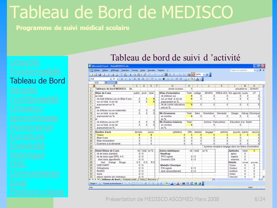 Programme de suivi médical scolaire Présentation de MEDISCO ASCOMED Mars 20086/24 Tableau de Bord de MEDISCO Objectifs Fonctionnalités Tableau de Bord