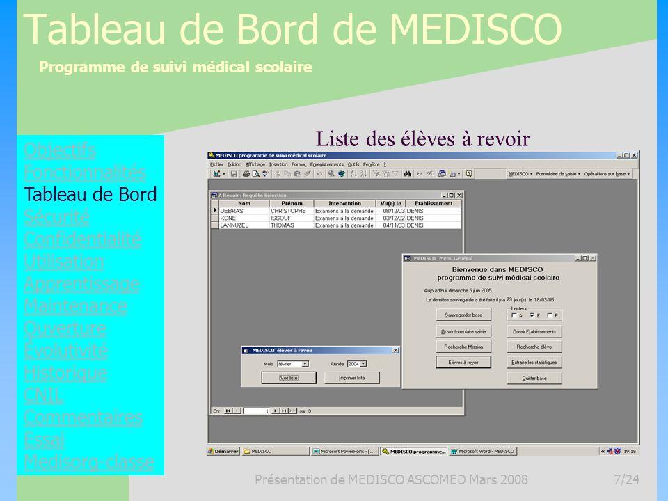 Programme de suivi médical scolaire Présentation de MEDISCO ASCOMED Mars 20087/24 Tableau de Bord de MEDISCO Objectifs Fonctionnalités Tableau de Bord