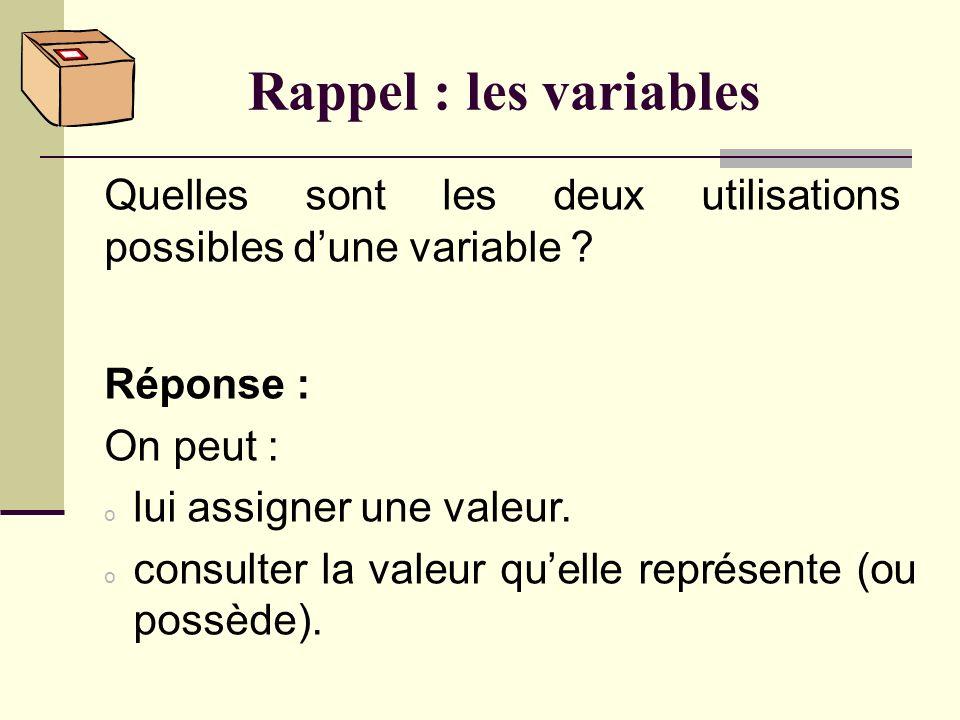 Rappel : les variables Quest-ce quune variable ? Réponse : Dun point de vue théorique, une variable est un identificateur (comme x ou prénom) utilisé