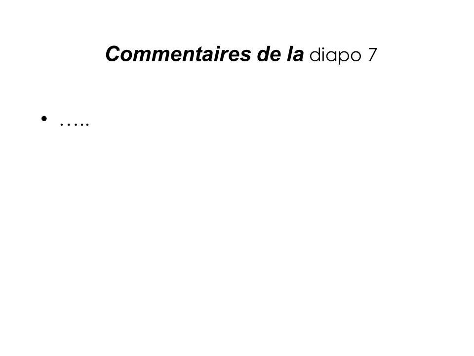 Commentaires de la diapo 7 …..