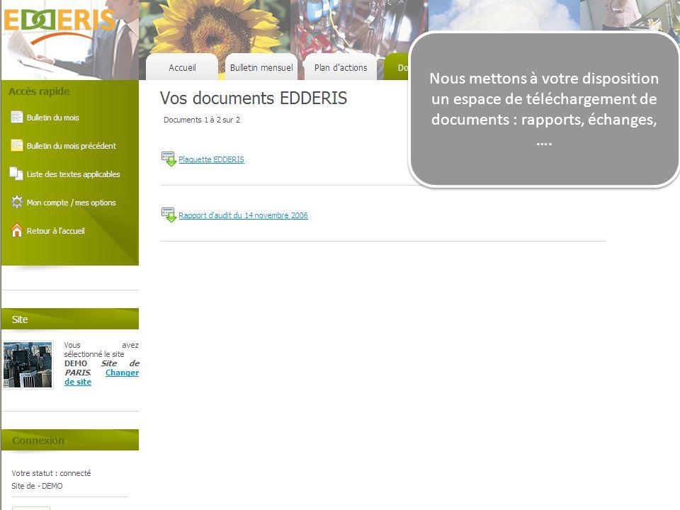 Nous mettons à votre disposition un espace de téléchargement de documents : rapports, échanges, ….