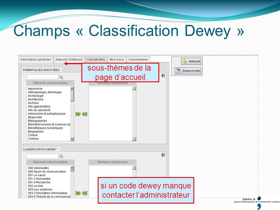 Champs « Classification Dewey » sous-thèmes de la page daccueil si un code dewey manque contacter ladministrateur