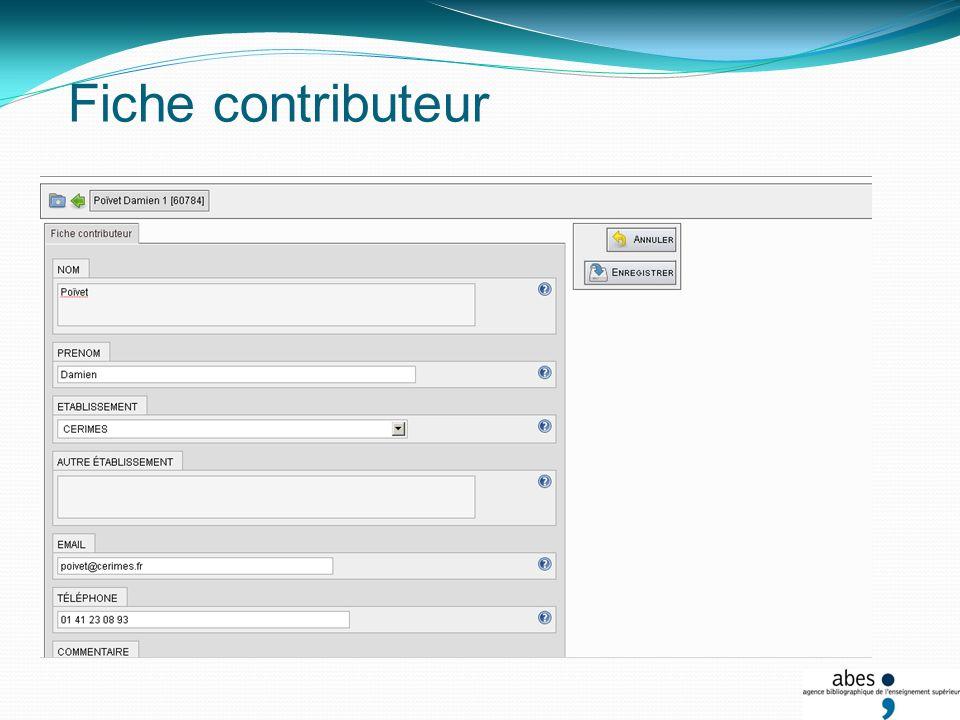 Interface des contributeurs