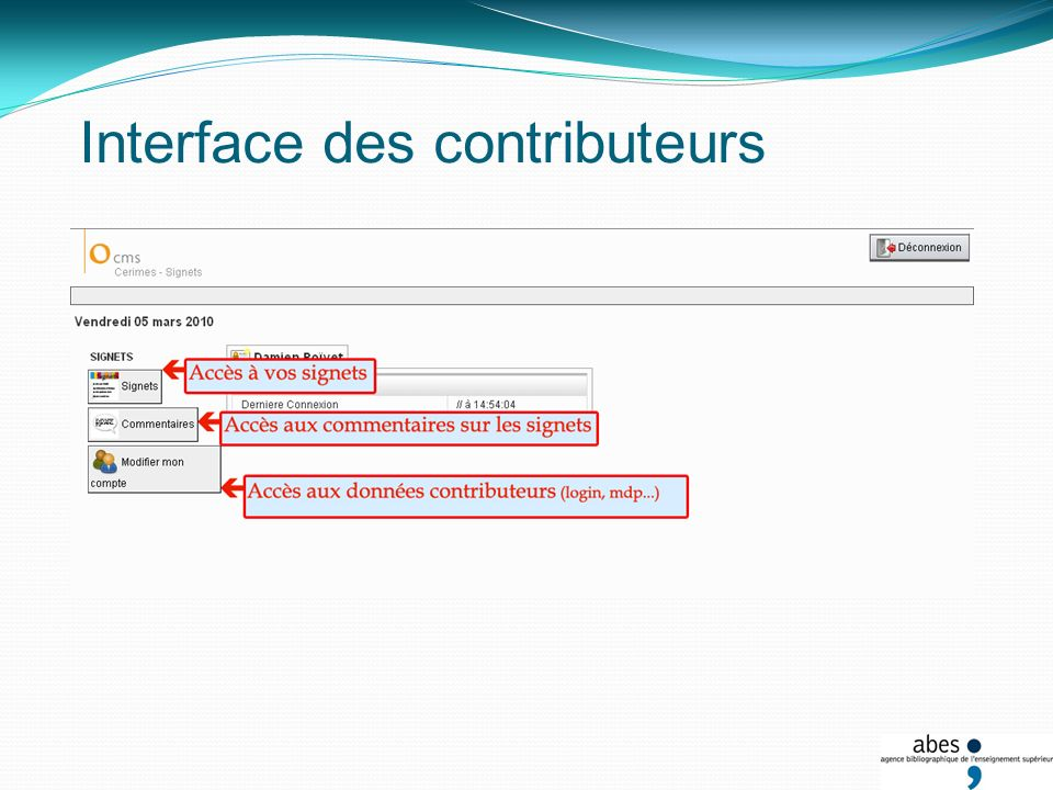 Interface des contributeurs