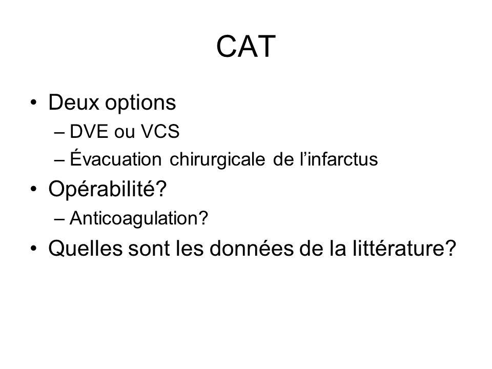 CAT Deux options –DVE ou VCS –Évacuation chirurgicale de linfarctus Opérabilité.