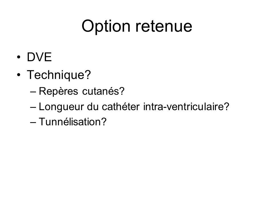 Option retenue DVE Technique.–Repères cutanés. –Longueur du cathéter intra-ventriculaire.