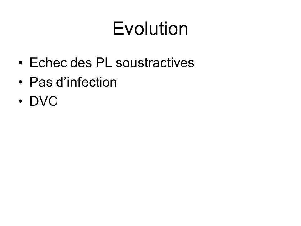 Evolution Echec des PL soustractives Pas dinfection DVC