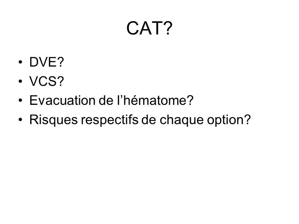 CAT? DVE? VCS? Evacuation de lhématome? Risques respectifs de chaque option?