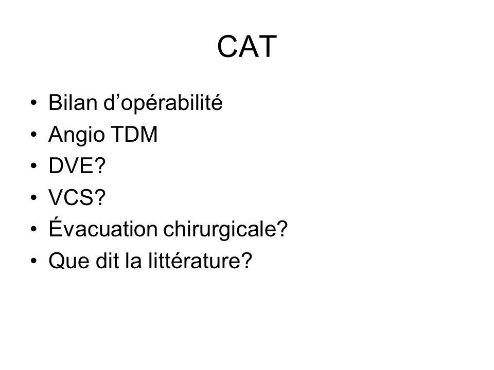 CAT Bilan dopérabilité Angio TDM DVE? VCS? Évacuation chirurgicale? Que dit la littérature?
