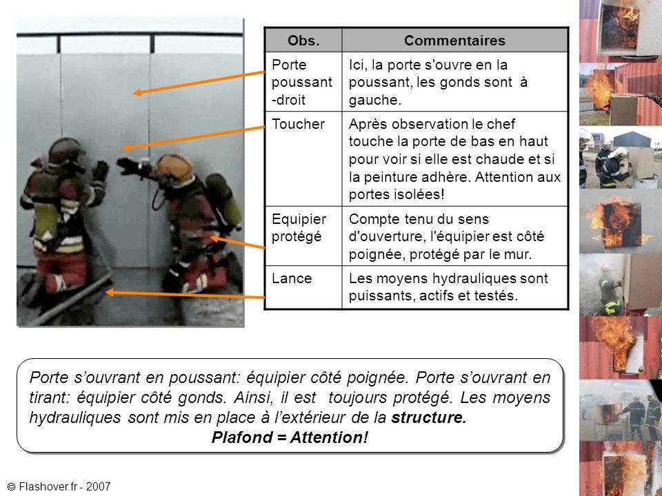 Flashover.fr - 2007 Exercice d Observation - Kit-obs-1 Passage de porte Récapitulatif Placement Règle des 4 P pour celui qui ouvre (équipier): Si la Porte se Pousse, je me Place côté Poignée .
