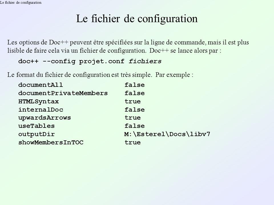 Le fichier de configuration Les options de Doc++ peuvent être spécifiées sur la ligne de commande, mais il est plus lisible de faire cela via un fichi