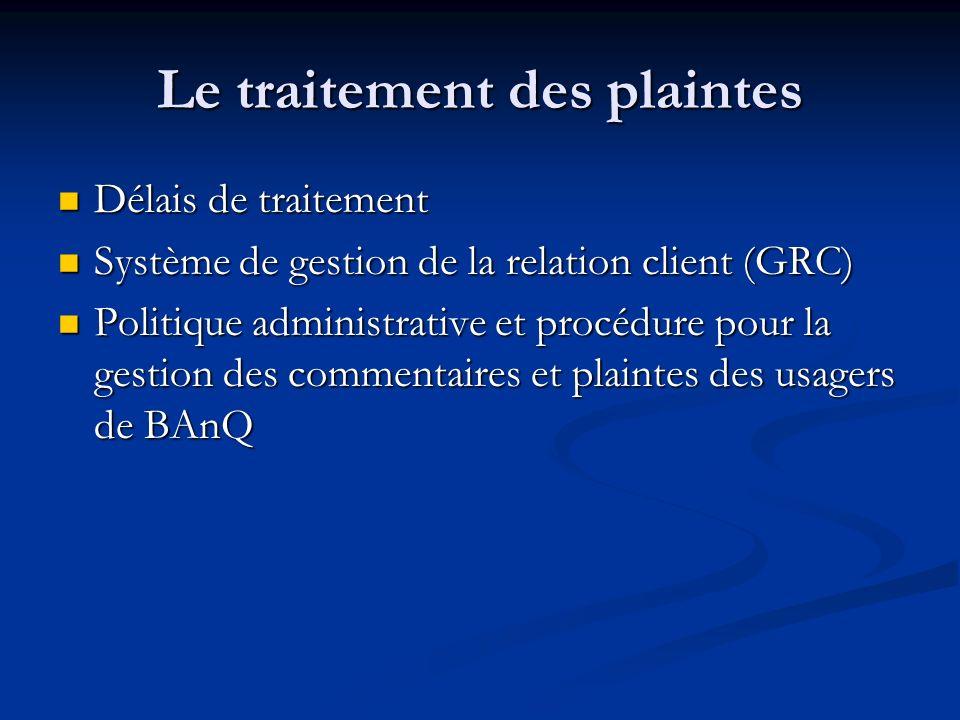 Le traitement des plaintes Délais de traitement Délais de traitement Système de gestion de la relation client (GRC) Système de gestion de la relation