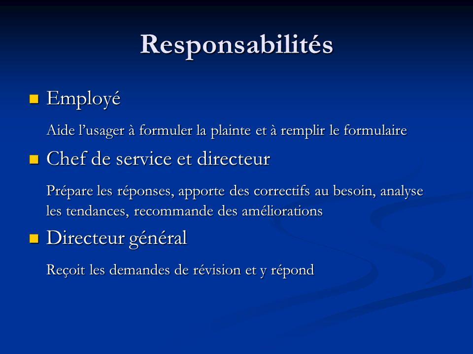 Responsabilités Employé Employé Aide lusager à formuler la plainte et à remplir le formulaire Chef de service et directeur Chef de service et directeu