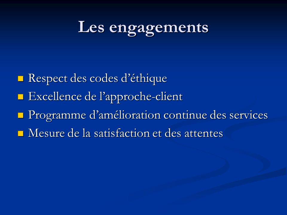 Les engagements Respect des codes déthique Respect des codes déthique Excellence de lapproche-client Excellence de lapproche-client Programme damélior