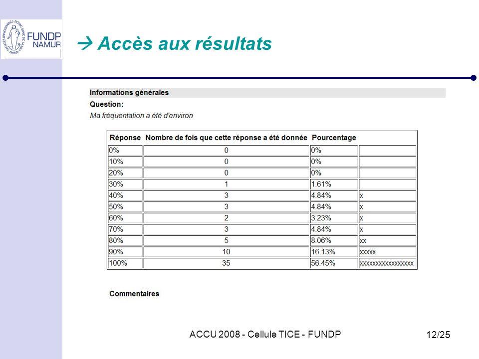 ACCU 2008 - Cellule TICE - FUNDP 12/25 Accès aux résultats