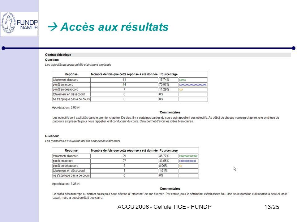 ACCU 2008 - Cellule TICE - FUNDP 13/25 Accès aux résultats