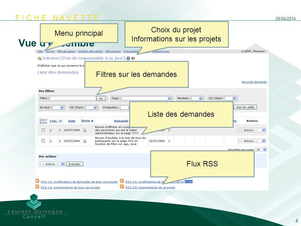 F I C H E N A V E T T E Vue densemble 29/04/2014 4 Menu principal Choix du projet Informations sur les projets Filtres sur les demandes Liste des dema