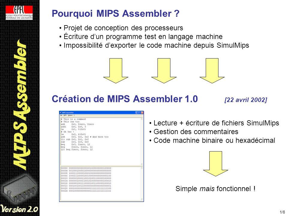 Pourquoi MIPS Assembler ? Projet de conception des processeurs Écriture dun programme test en langage machine Impossibilité dexporter le code machine