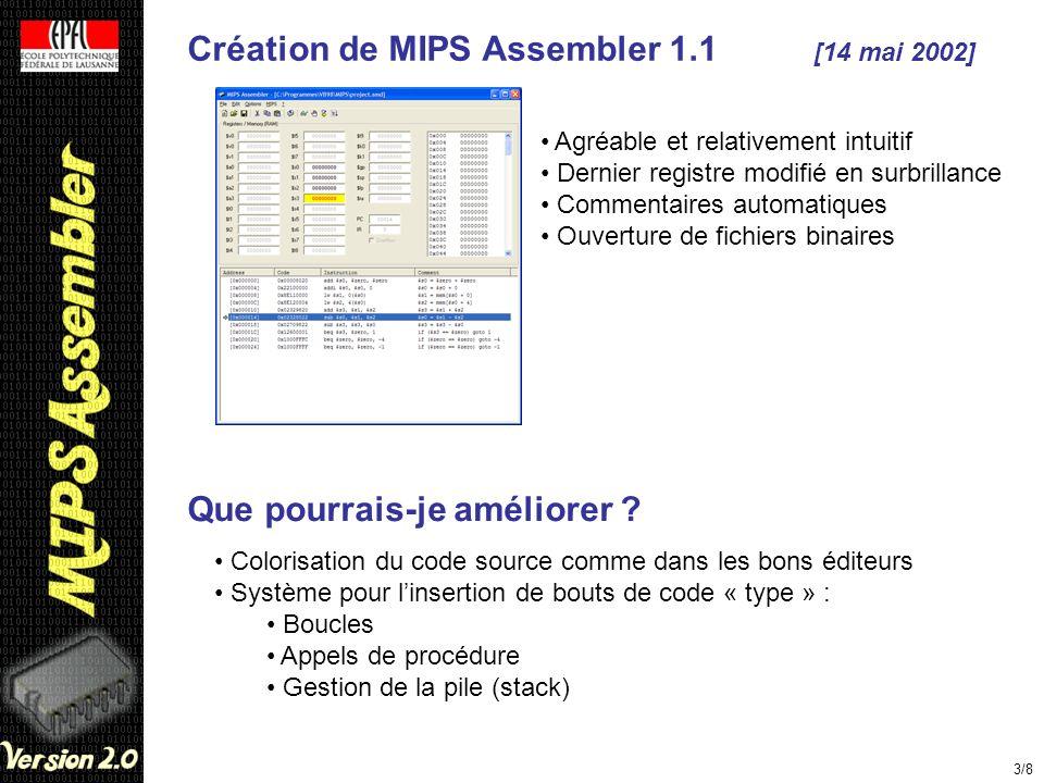 Création de MIPS Assembler 1.1 [14 mai 2002] 3/8 Agréable et relativement intuitif Dernier registre modifié en surbrillance Commentaires automatiques