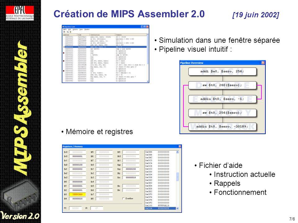 Création de MIPS Assembler 2.0 [19 juin 2002] 7/8 Simulation dans une fenêtre séparée Pipeline visuel intuitif : Mémoire et registres Fichier daide In