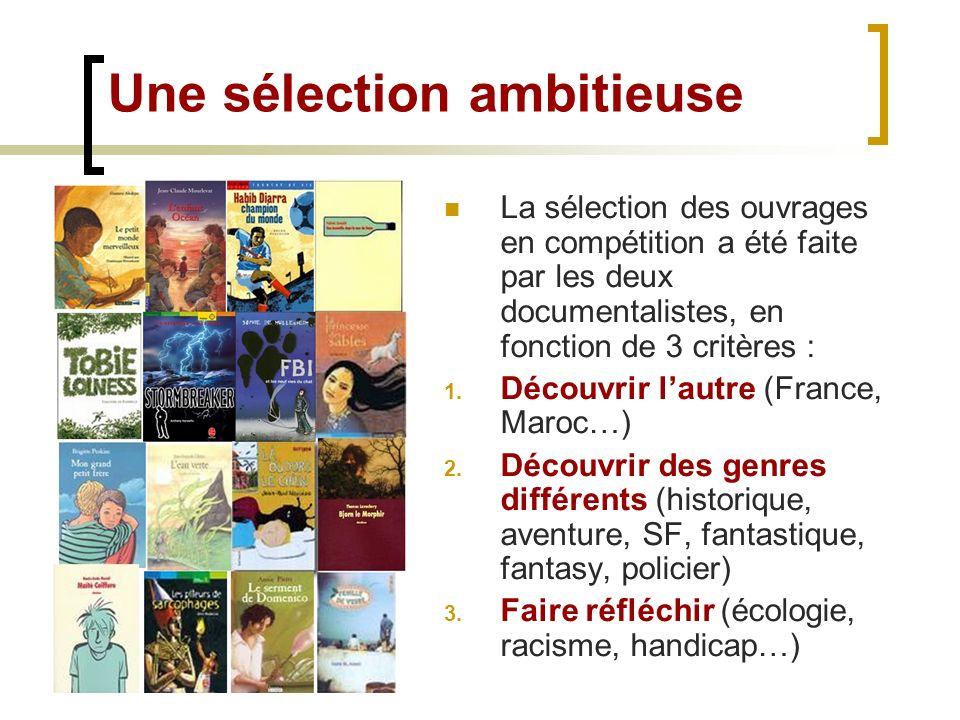 La sélection des ouvrages en compétition a été faite par les deux documentalistes, en fonction de 3 critères : 1. Découvrir lautre (France, Maroc…) 2.
