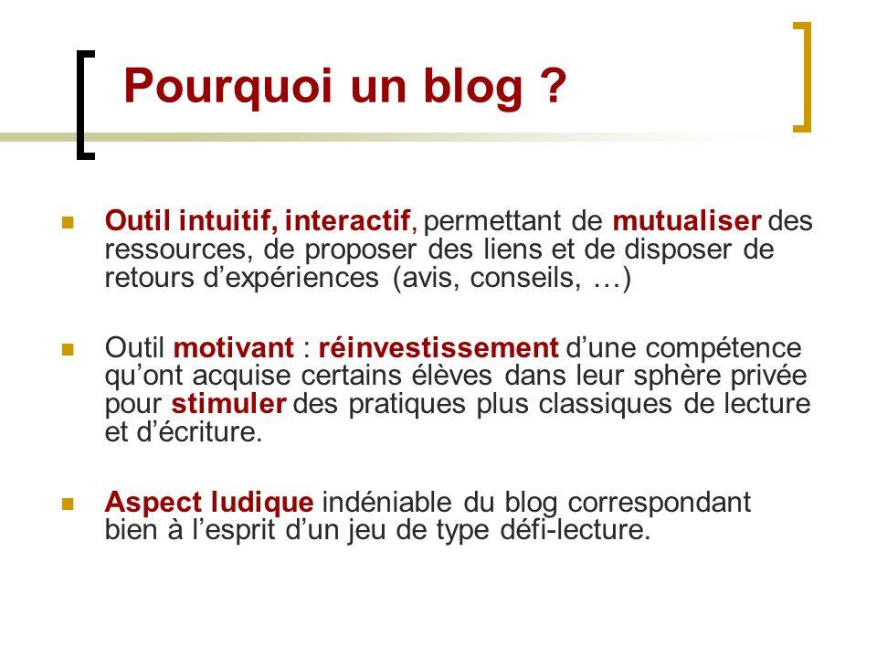 Pourquoi un blog ? Outil intuitif, interactif, permettant de mutualiser des ressources, de proposer des liens et de disposer de retours dexpériences (