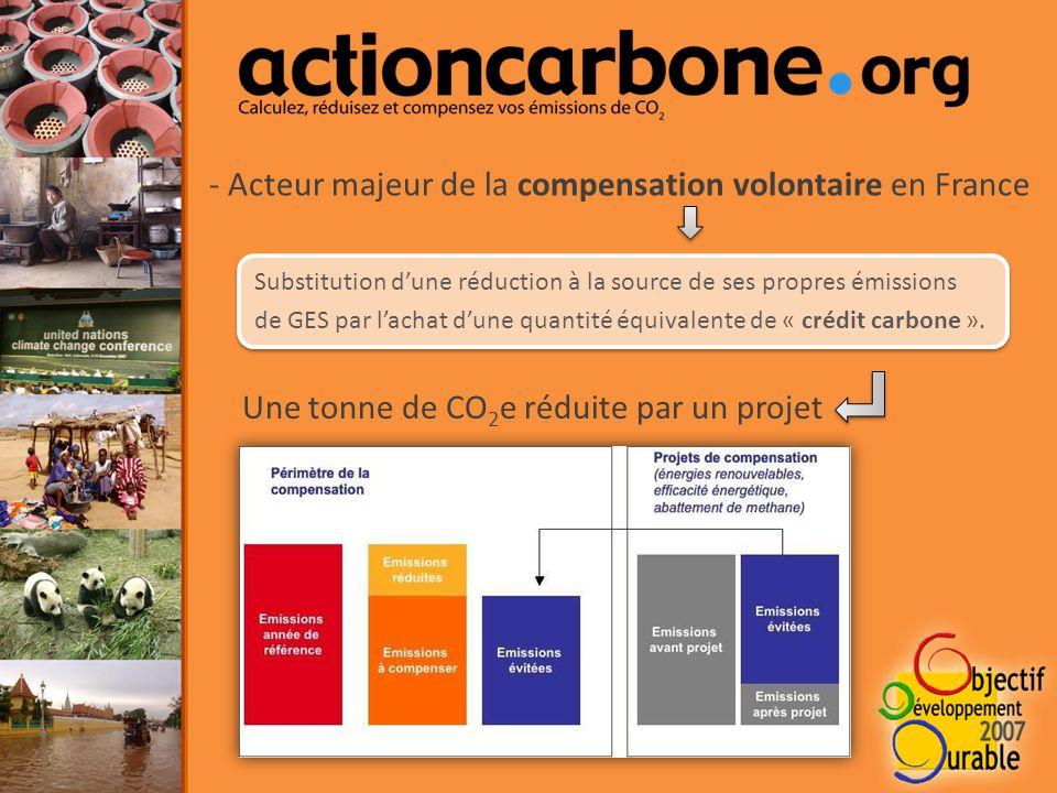 - Acteur majeur de la compensation volontaire en France Substitution dune réduction à la source de ses propres émissions de GES par lachat dune quantité équivalente de « crédit carbone ».