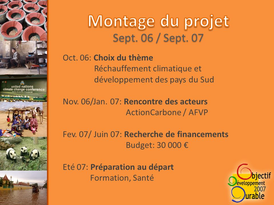 Oct. 06: Choix du thème Réchauffement climatique et développement des pays du Sud Nov.