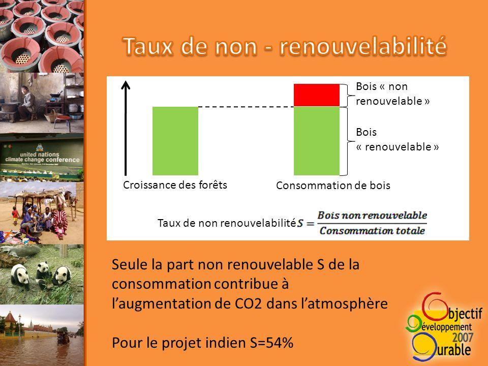 Croissance des forêts Consommation de bois Bois « renouvelable » Bois « non renouvelable » Taux de non renouvelabilité Seule la part non renouvelable S de la consommation contribue à laugmentation de CO2 dans latmosphère Pour le projet indien S=54%