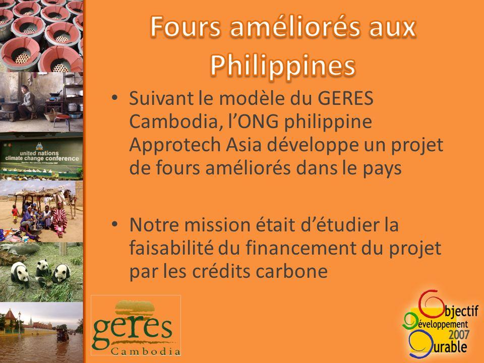 Suivant le modèle du GERES Cambodia, lONG philippine Approtech Asia développe un projet de fours améliorés dans le pays Notre mission était détudier la faisabilité du financement du projet par les crédits carbone