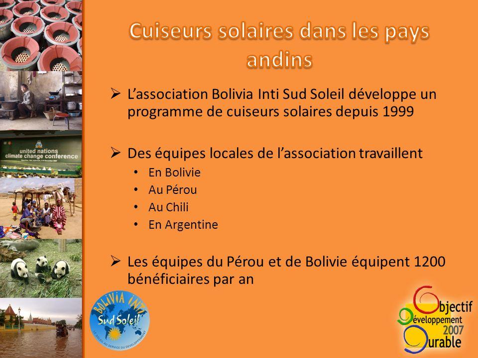 Lassociation Bolivia Inti Sud Soleil développe un programme de cuiseurs solaires depuis 1999 Des équipes locales de lassociation travaillent En Bolivie Au Pérou Au Chili En Argentine Les équipes du Pérou et de Bolivie équipent 1200 bénéficiaires par an
