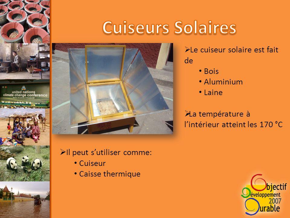 Le cuiseur solaire est fait de Bois Aluminium Laine La température à lintérieur atteint les 170 °C Il peut sutiliser comme: Cuiseur Caisse thermique