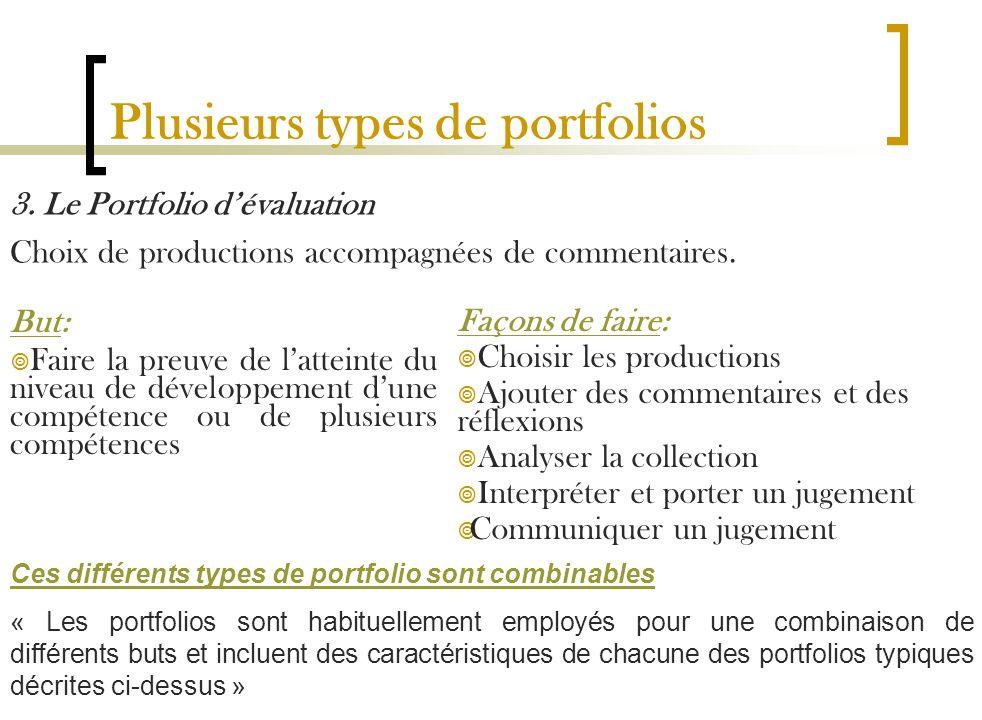 Plusieurs types de portfolios 3. Le Portfolio dévaluation Choix de productions accompagnées de commentaires. But: Faire la preuve de latteinte du nive
