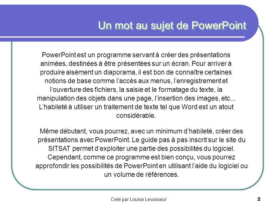 GUIDE DE RÉFÉRENCES PowerPoint97 Quelques définitions et procédures