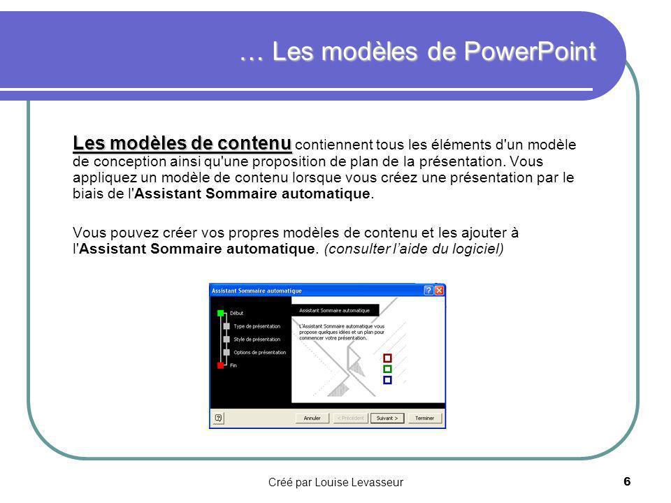 Créé par Louise Levasseur5 PowerPoint propose deux types de modèles : les modèles de conception et les modèles de contenu.