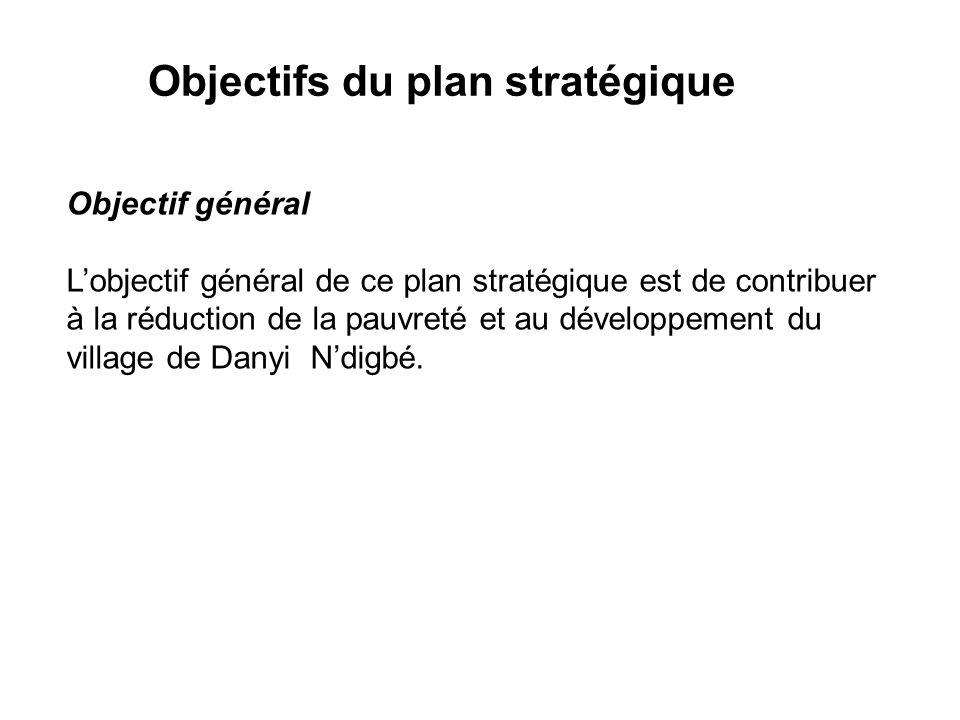 Objectifs du plan stratégique Objectif général Lobjectif général de ce plan stratégique est de contribuer à la réduction de la pauvreté et au développement du village de Danyi Ndigbé.