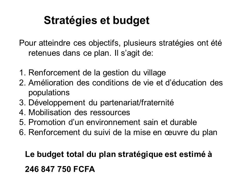 Stratégies et budget Pour atteindre ces objectifs, plusieurs stratégies ont été retenues dans ce plan.