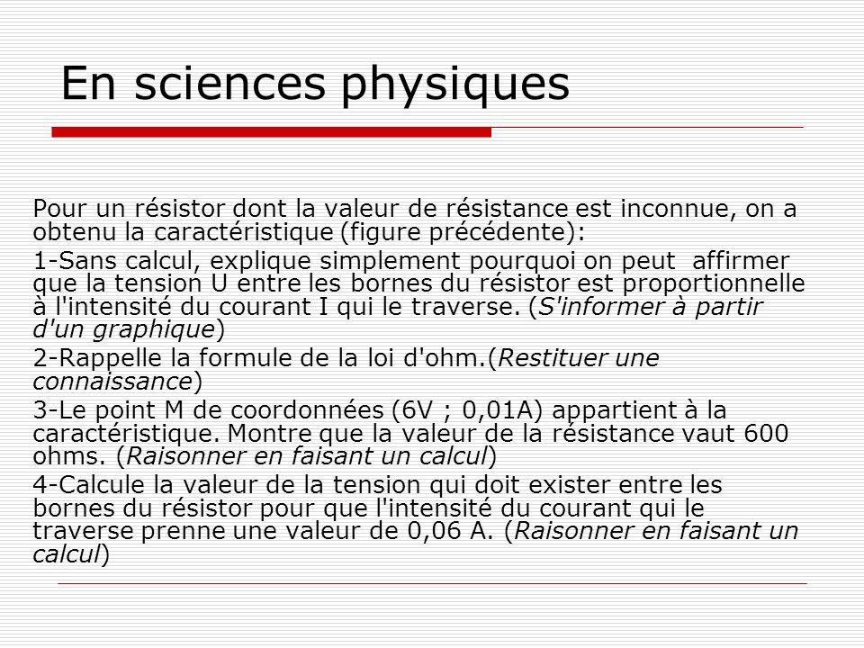 Pour un résistor dont la valeur de résistance est inconnue, on a obtenu la caractéristique (figure précédente): 1-Sans calcul, explique simplement pou