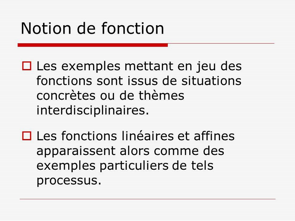 Notion de fonction Les exemples mettant en jeu des fonctions sont issus de situations concrètes ou de thèmes interdisciplinaires. Les fonctions linéai
