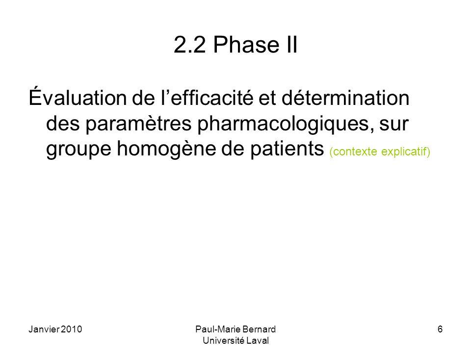 Janvier 2010Paul-Marie Bernard Université Laval 6 2.2 Phase II Évaluation de lefficacité et détermination des paramètres pharmacologiques, sur groupe homogène de patients (contexte explicatif)