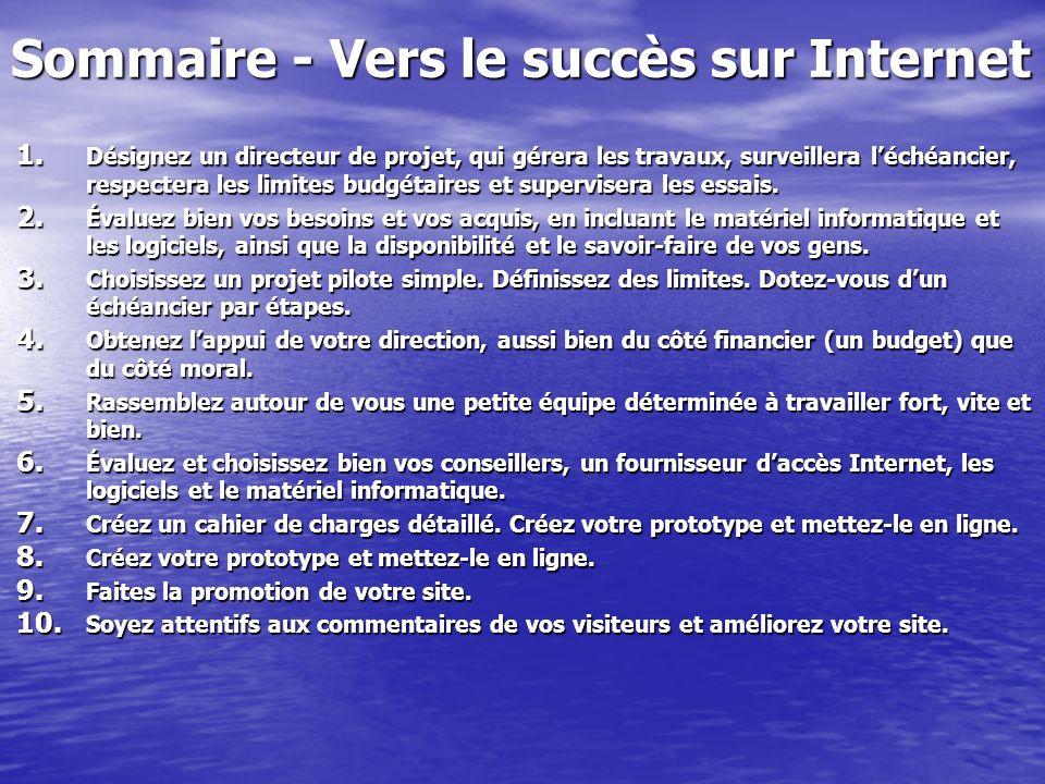 Sommaire - Vers le succès sur Internet 1.