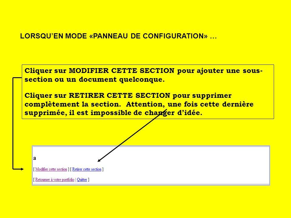 Cliquer sur MODIFIER CETTE SECTION pour ajouter une sous- section ou un document quelconque.