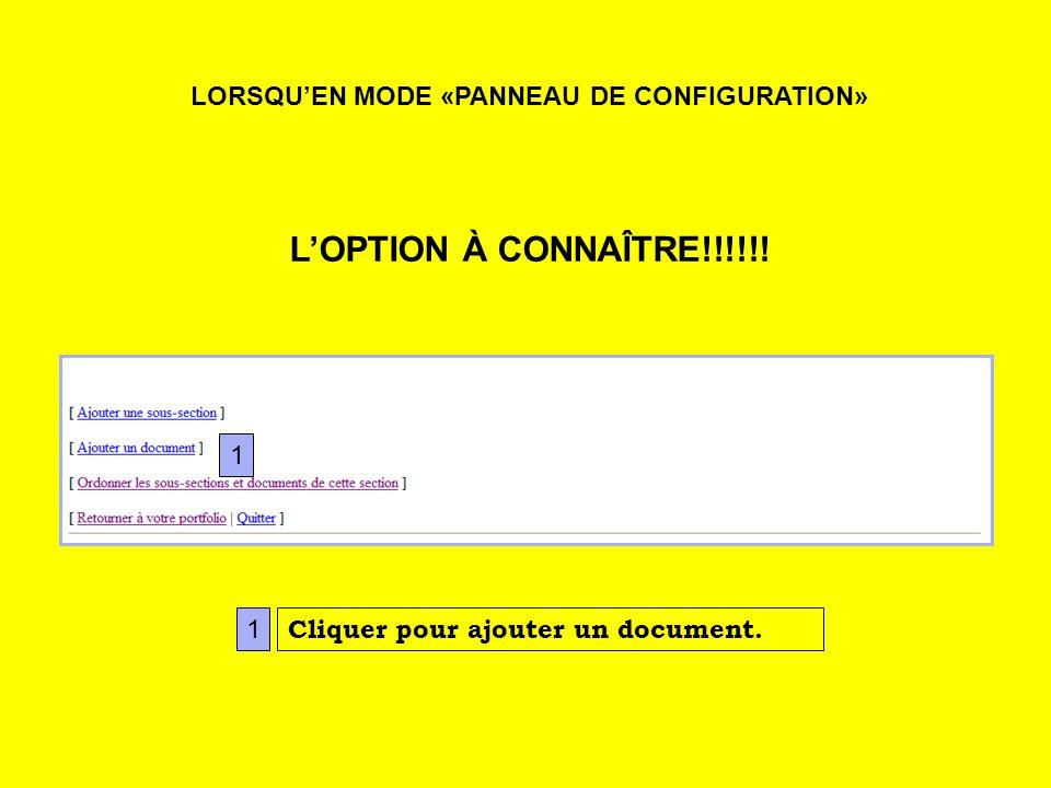 LORSQUEN MODE «PANNEAU DE CONFIGURATION» LOPTION À CONNAÎTRE!!!!!.