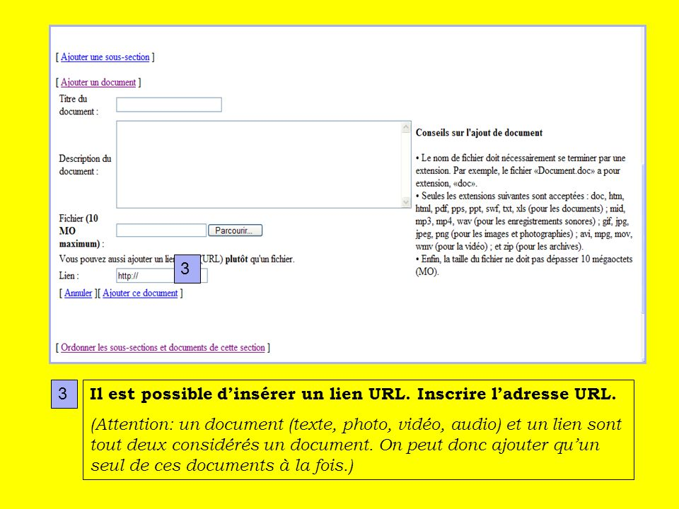 Il est possible dinsérer un lien URL. Inscrire ladresse URL.
