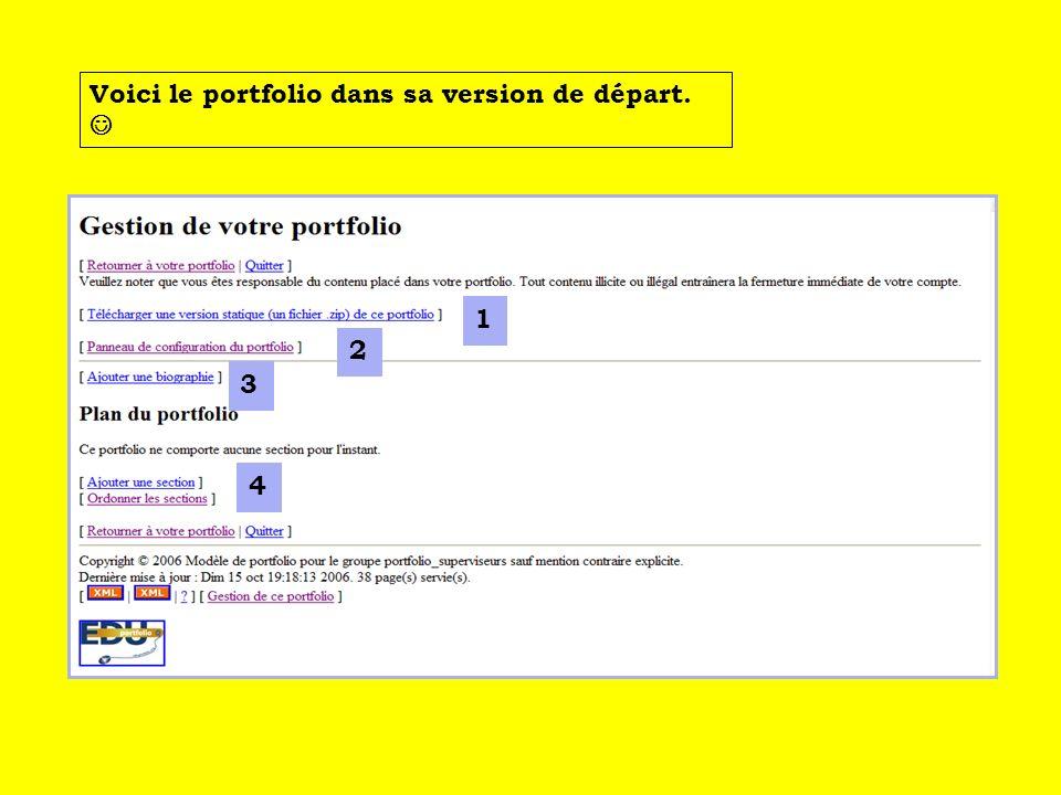 2 1 3 4 2 Cliquer sur le lien pour configurer votre portfolio.